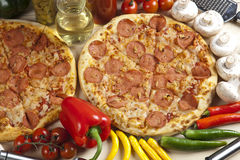 Pizza with salami Royalty Free Stock Photography