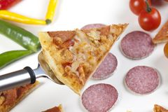 Pizza with salami Stock Image