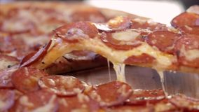 Pizza with salami close-up. stock video footage