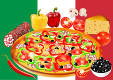 Pizza with salami, flag of Italy on background, vector illustration Stock Photos