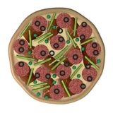 Pizza with salami and ham Royalty Free Stock Photos