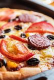 Pizza with salami, mushrooms and cheese homemade royalty free stock photo