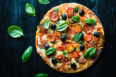 Pizza with salami, stock image