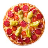 Pizza with salami, pepperoni peppers closeup isolated Stock Photography