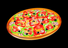 Pizza with salami, peppers and olives, vector illustration Royalty Free Stock Photography