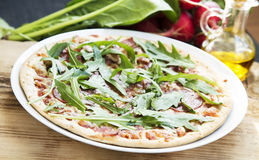 Pizza Salami with Rucola Royalty Free Stock Photo