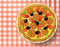 Pizza with salami, sausage, cheese mozzarella, tomato, pepper, b. Lack olive, fresh parsley and species on wooden cutting board on red-white tablecloth. Top view Royalty Free Stock Photos