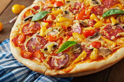 Pizza with salami Royalty Free Stock Image