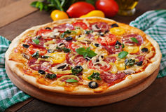 Pizza with salami Stock Photography
