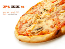 Pizza with salami, tomatoes, mushrooms and chicken  on w Royalty Free Stock Photography