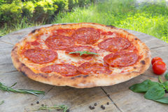 Pizza with salami Royalty Free Stock Images