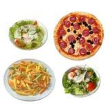 Pizza, salat et pâtes Photos libres de droits