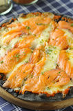 Pizza with salmon Royalty Free Stock Photos
