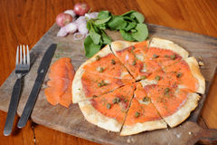 Pizza with Salmon Stock Image