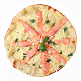 Pizza with salmon and creamy sauce Royalty Free Stock Images