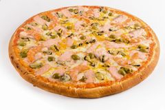 Pizza with salmon, shrimps and mussels on a white background. Pizza with salmon, shrimps and mussels on a white isolated royalty free stock images