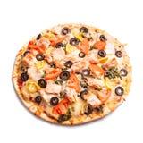 Pizza with salmon Stock Photos