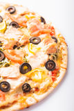 Pizza with salmon Royalty Free Stock Photography