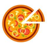 Pizza saporita deliziosa rotonda con i funghi e la cipolla nello stile piano illustrazione di vettore di pizza affettata isolata  royalty illustrazione gratis
