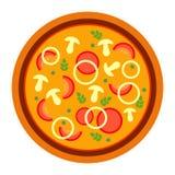 Pizza saporita deliziosa rotonda con i funghi e la cipolla nello stile piano illustrazione di vettore di pizza isolata su bianco illustrazione vettoriale