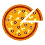 Pizza saporita deliziosa rotonda con i funghi e le olive nello stile piano illustrazione di vettore di pizza affettata isolata so illustrazione vettoriale
