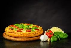 Pizza saporita fresca con gli ingredienti Immagini Stock