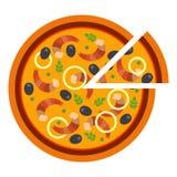 Pizza saporita rotonda con i gamberetti e le olive nello stile piano vector l'illustrazione di pizza affettata isolata su bianco royalty illustrazione gratis