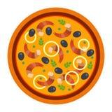 Pizza saporita rotonda con i gamberetti e le olive nello stile piano vector l'illustrazione di pizza isolata su fondo bianco insi illustrazione di stock