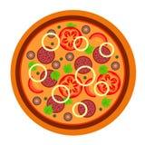 Pizza saporita rotonda con i pomodori, la salsiccia ed il pepe nello stile piano illustrazione di vettore di pizza isolata su bia illustrazione vettoriale