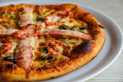 Pizza with sausage royalty free stock photo