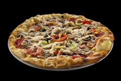 Pizza with sausage, green pepper and cheese Royalty Free Stock Photos
