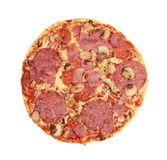 Pizza with sausage, ham and mushrooms Stock Image