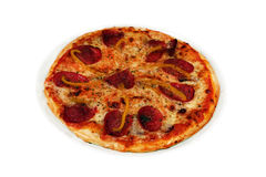 Pizza with sausage. Hot pizza with sausage, pepper and cheese Royalty Free Stock Image