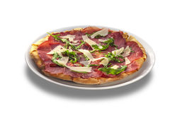 Pizza with sausages and cheese slises Royalty Free Stock Image