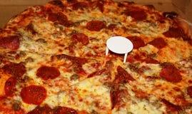 Pizza sazonada grande Foto de archivo libre de regalías