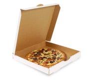 Pizza in scatola bianca normale Fotografie Stock Libere da Diritti