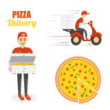 Pizza, scooter motorcycle and delivery boy. Fast delivery concept. Pizza, scooter motorcycle and delivery boy with boxes. Vector template isolated on white Stock Images