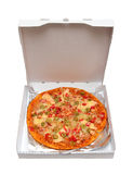 Pizza with seafood in box. Pizza with seafood and olives in box Royalty Free Stock Image
