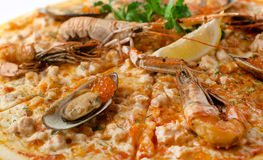 Pizza with seafood, caviar, crab Stock Images
