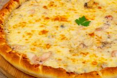 Pizza with seafood royalty free stock photography