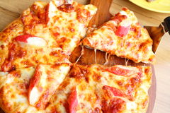 Pizza seafood and cheese. From Piza shop Thailand royalty free stock photography