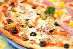 Pizza seafood and hawaiian. Stock Photos
