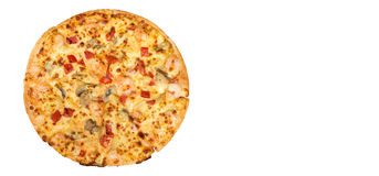 Pizza seafood on isolated background. Stock Images