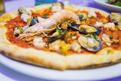 Pizza with seafood Royalty Free Stock Photos