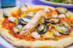 Pizza with seafood Royalty Free Stock Image