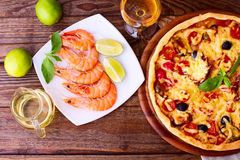 Pizza with seafood. Stock Photo