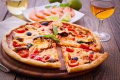 Pizza with seafood. Royalty Free Stock Image
