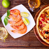 Pizza with seafood. Royalty Free Stock Photos