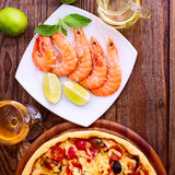 Pizza with seafood. Stock Photos