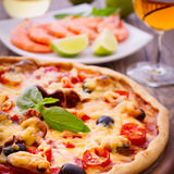 Pizza with seafood. Stock Image